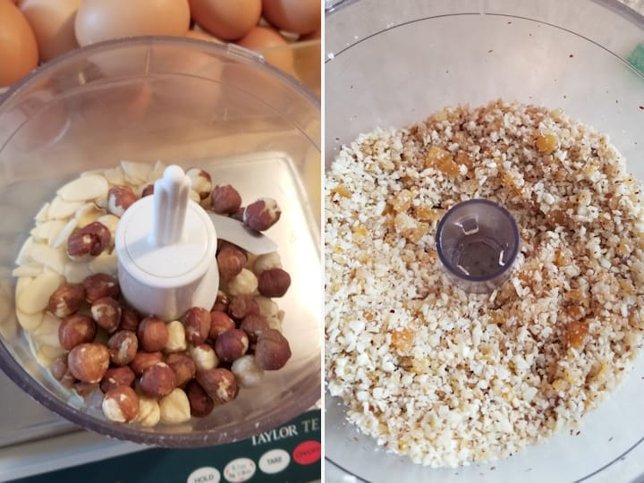 two photos showing how to grind nuts and orange peel for making german gingerbread