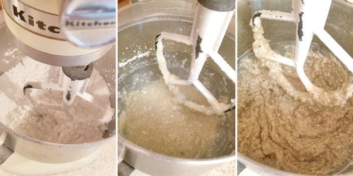 three photos showing how to mix lebkuchen batter