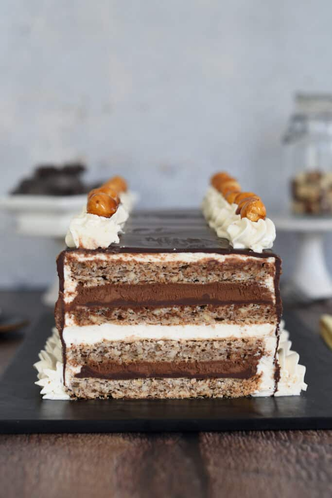 a closeup photo of a cross section of a marjolaine cake showing all the layers