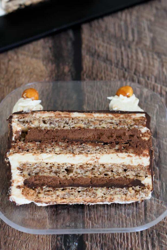 a slice of marjolaine cake on a plate