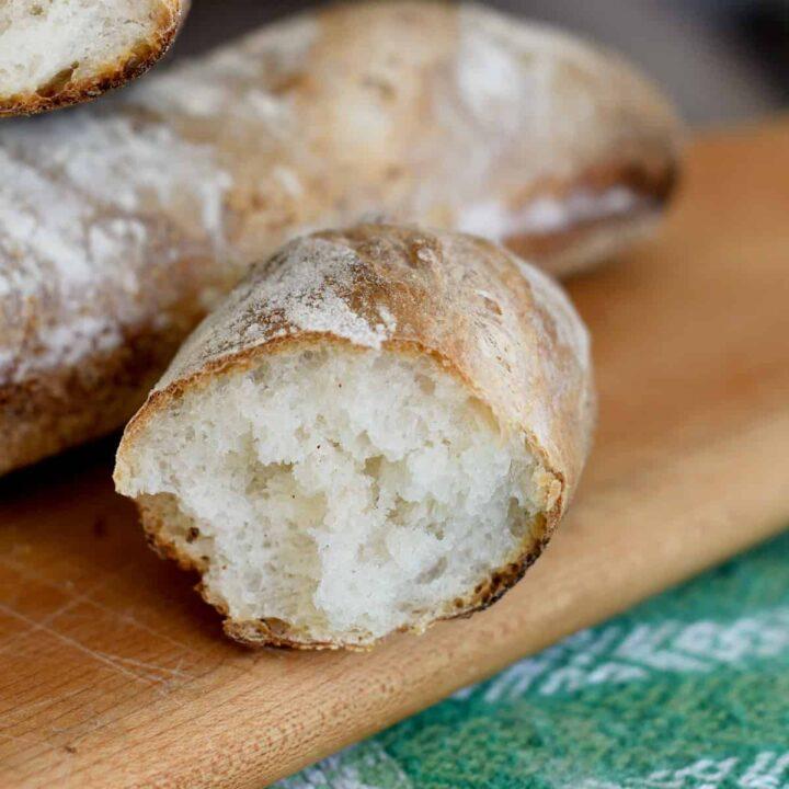 a closeup shot of the crumb of a sourdough baguette
