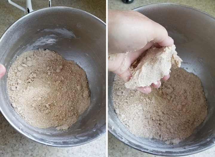 two side by side photos showing how to make crumb topping