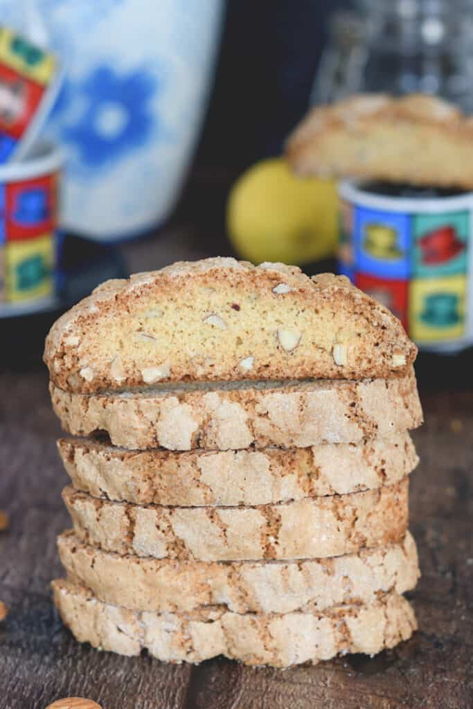 a stack of almond sourdough biscotti in a table