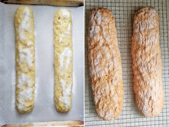 two side by side photos showing sourdough biscotti before and after baking.