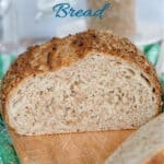 a pinterest image for sourdough bulgur wheat bread with text overlay