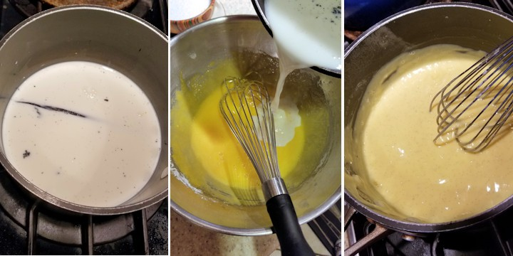 three side by side photos showing how to make vanilla custard as the base for vanilla mousse