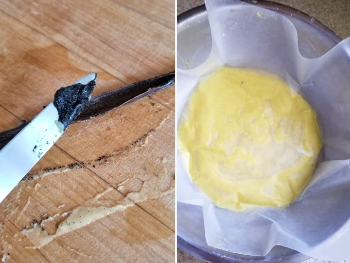 two photos showing how to scrape seeds from a vanilla bean and how to chill vanilla custard to avoid a skin on top