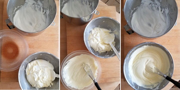 side by side photos showing the three steps to mixing a vanilla mousse