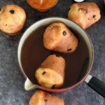 a baba au rhum image with text overlay for pinterest