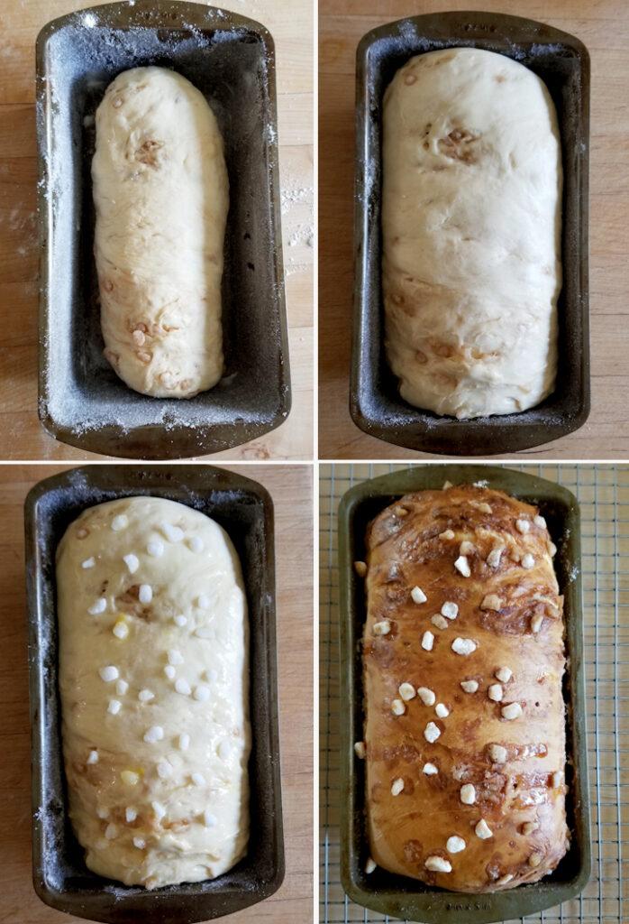 four photos showing dutch sugar bread before and after rising and before and after baking