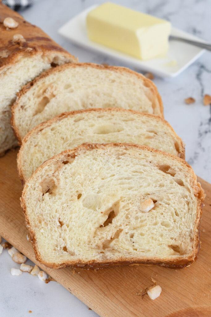 slices of dutch sugar bread on a cutting board