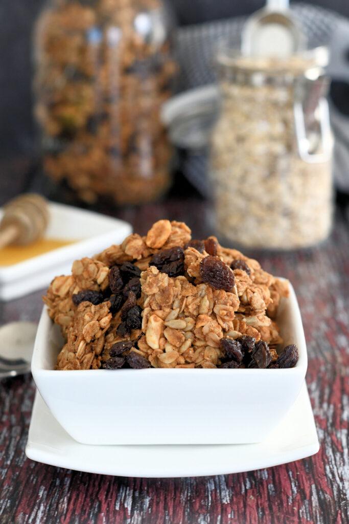 a bowl of peanut butter granola