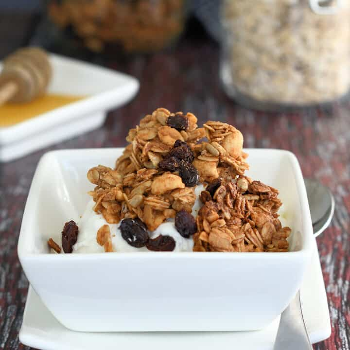 a bowl of yogurt topped with peanut butter granola