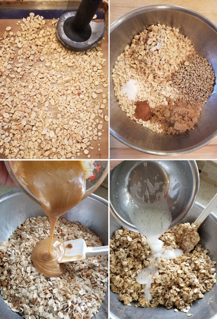 four photos showing the steps to making peanut butter granola