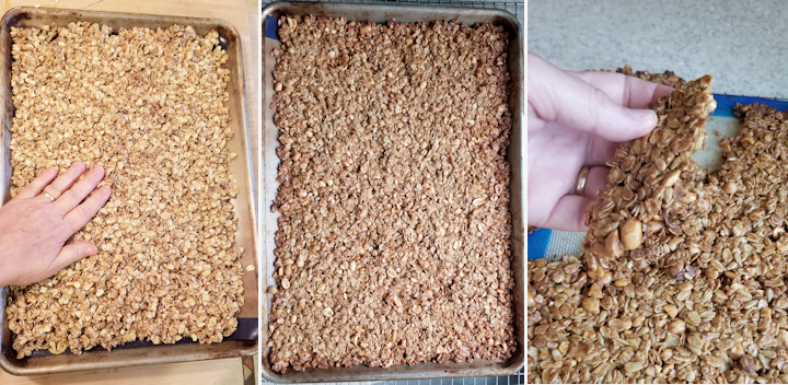 the side by side photos showing how to bake peanut butter granola