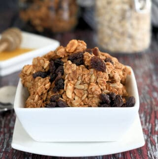 a bowl of peanut butter granola with raisins