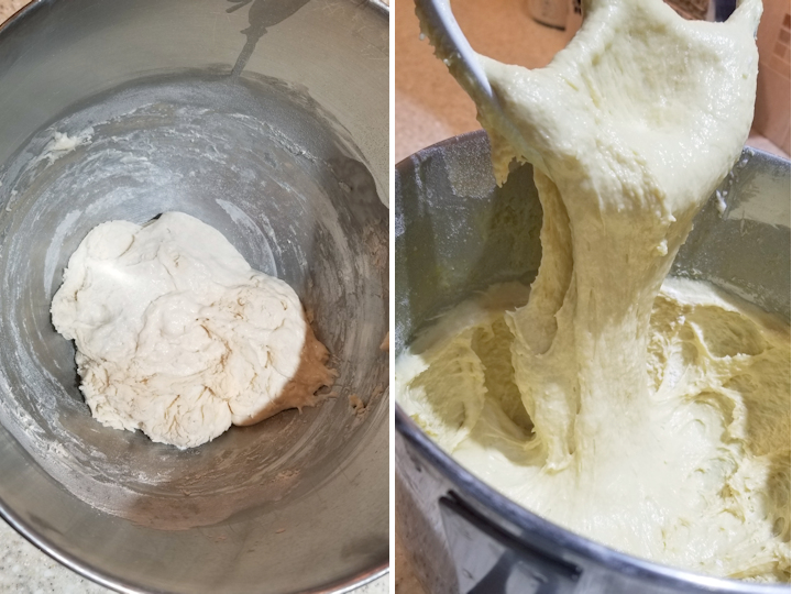 two photos showing how to make sourdough baba au rhum batter