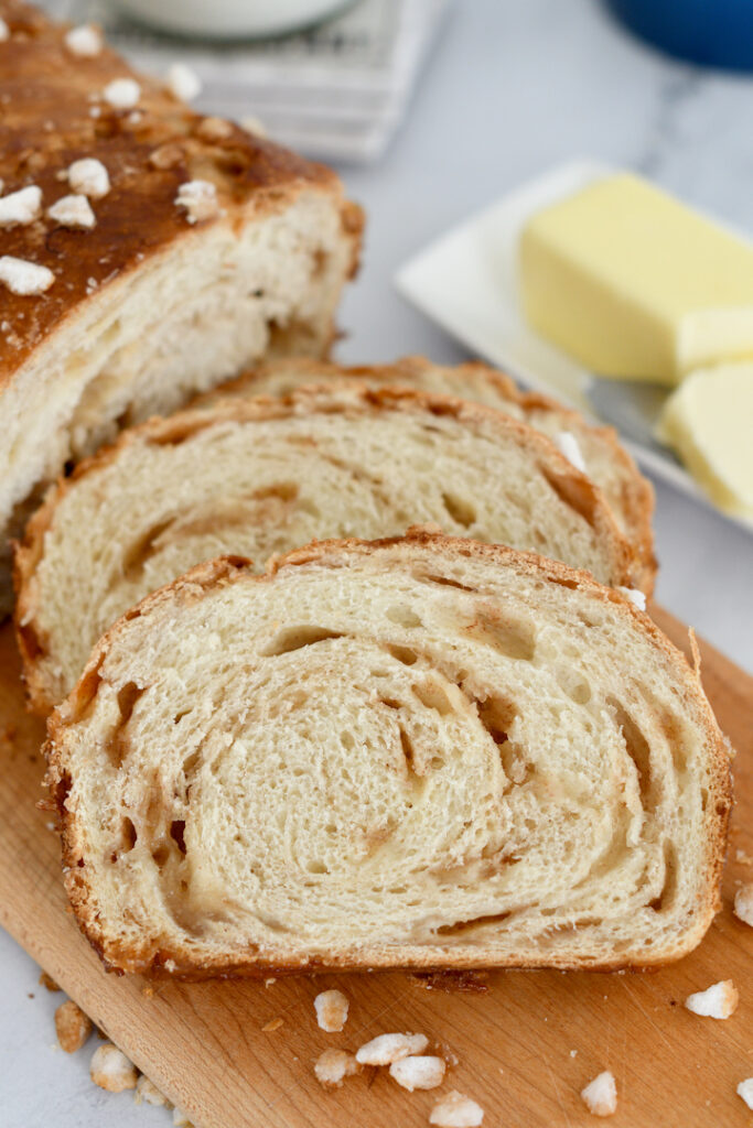 sliced of sourdough sugar bread on a cutting board