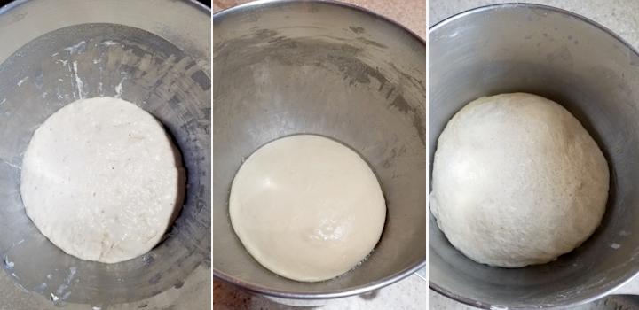 three photos showing how to make sourdough dutch sugar bread