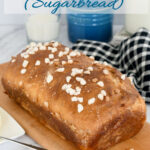 a pinterest image of sourdough suikerbrood with text overlay