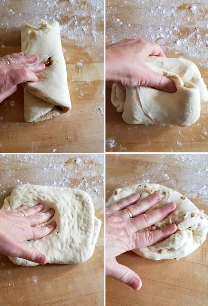 four photos showing how to incorporate sugar pearls into dutch sugar bread (suikerbrood)