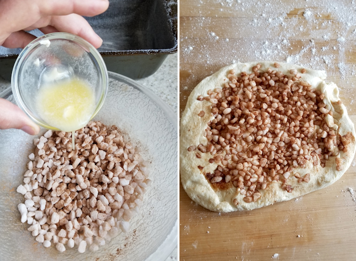 two photos showing how to mix sugar pearls into sourdough suikerbrood