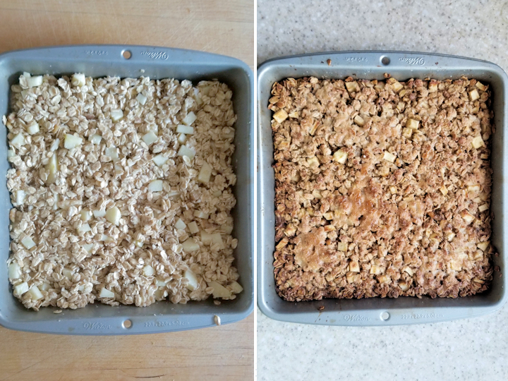 two side by side photos showing apple maple baked oatmeal before and after baking.
