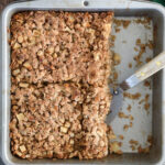 an image of apple maple baked oatmeal for pinterest with text overlay