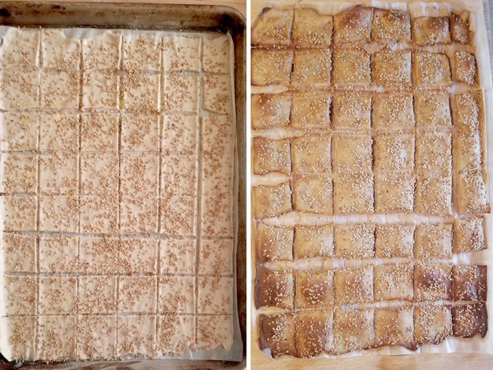 two side by side photos showing sourdough whole wheat crackers before and after baking