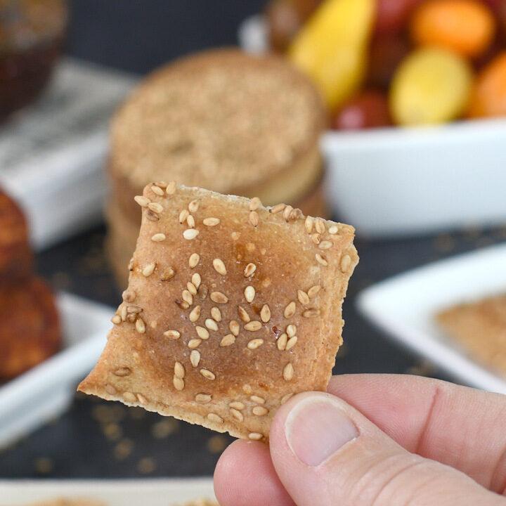 a hand holding a sourdough cracker