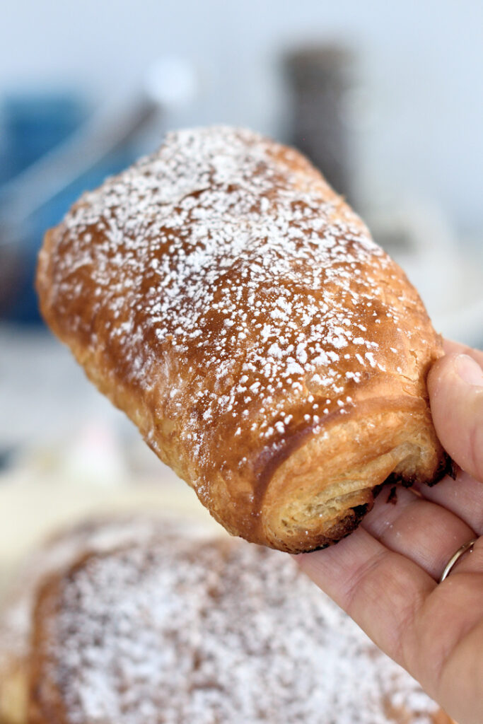 a hand holding a chocolate croissant sprinkled with powdered sugar
