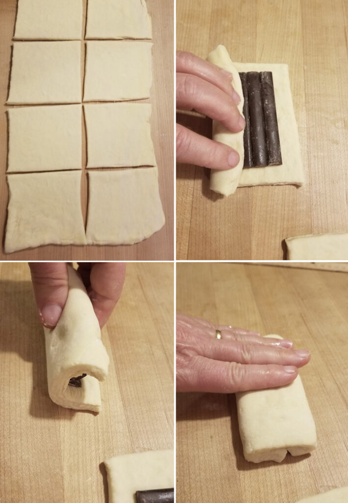 four photos showing how to cut and fill chocolate croissants