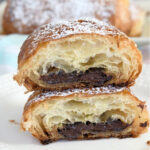 a pinterest image for chocolate croissants with text overlay
