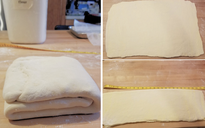 the photos showing how to roll and fold croissant dough to laminate the butter into the dough