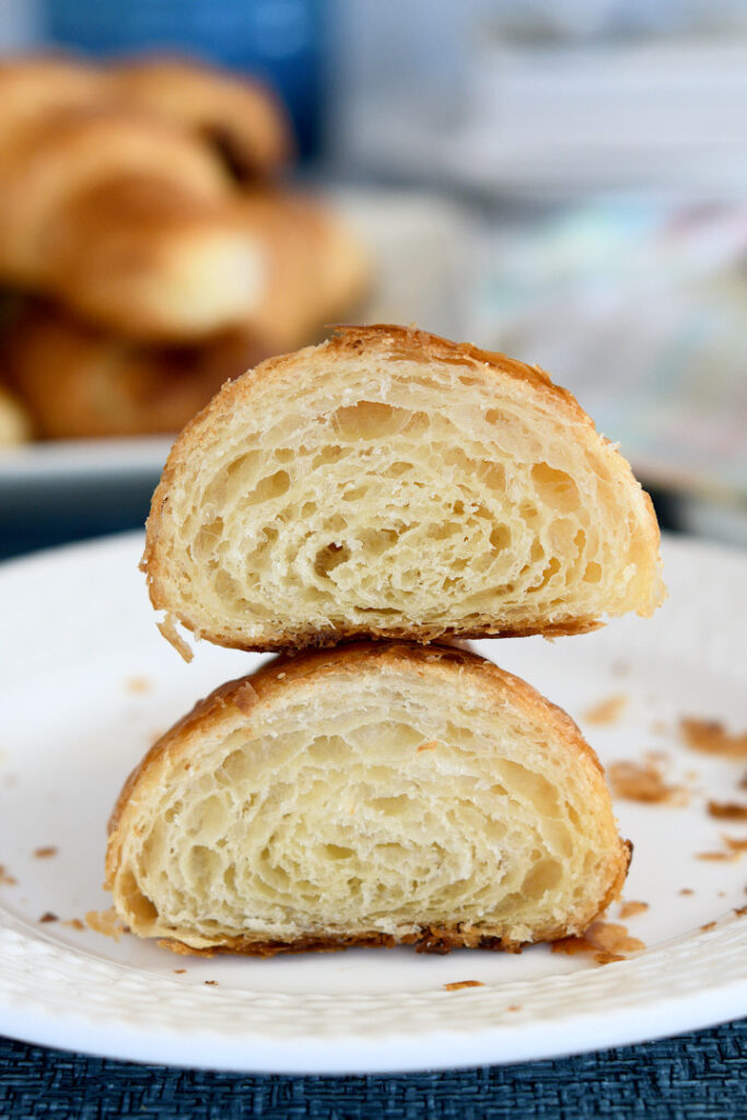 a cross section view of the layers in a croissant.
