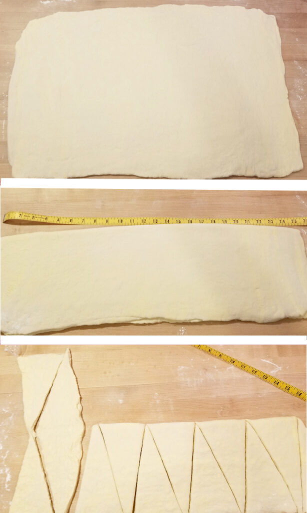 three photos showing how to roll and cut croissants