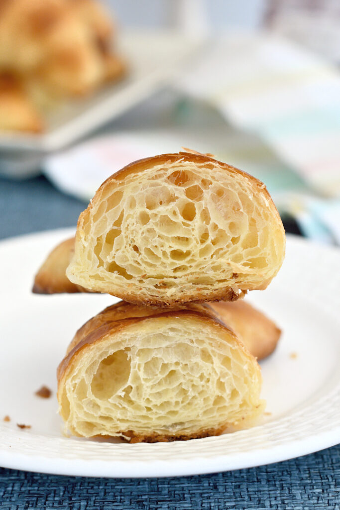 a sliced croissant showing the layers