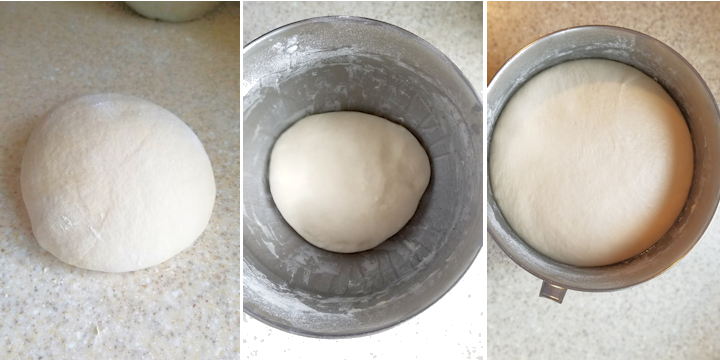 three side by side photos showing croissant dough after mixing and before and after rising.