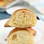 a pinterest image for homemade croissants with text overlay