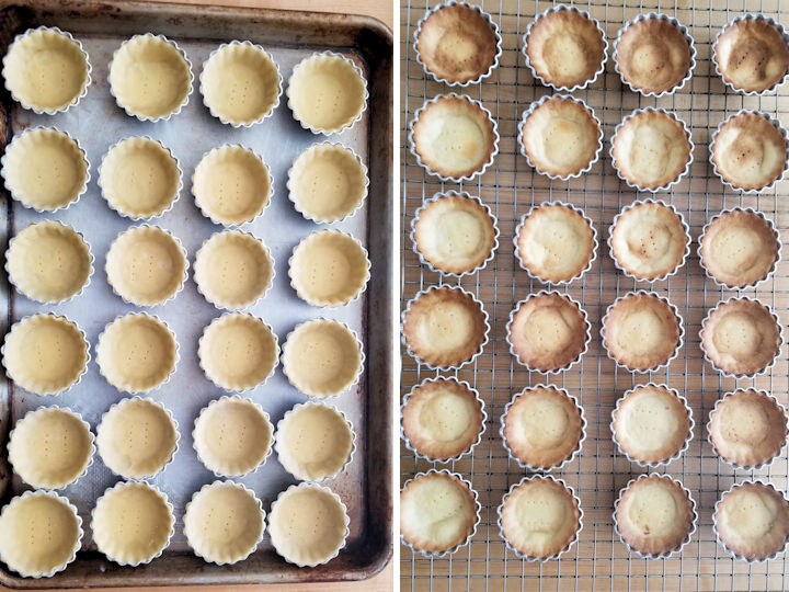 two side by side photos showing mini tarts before and after baking