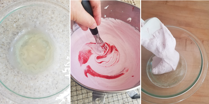 three photos showing how to bloom gelatin and mix it into raspberry cream.