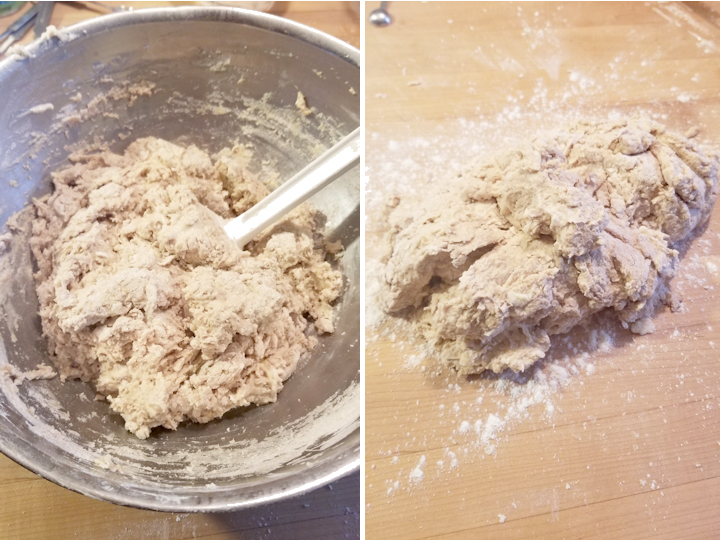two side by side photos showing how to mix brown bread