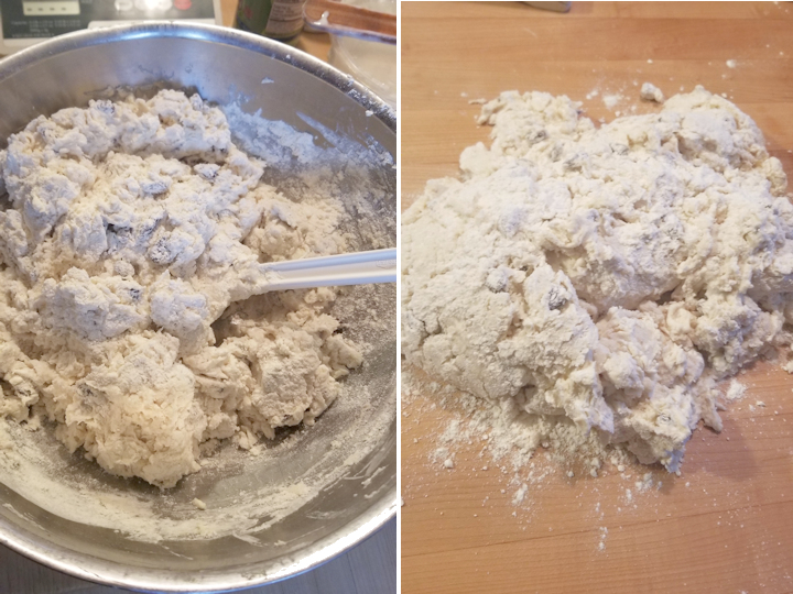 two images showing how to knead sourdough soda bread