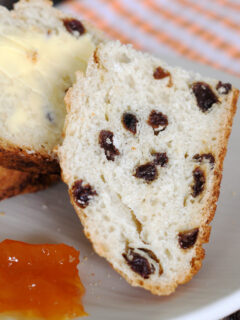 a slice of sourdough soda bread on a plate with marmalade