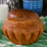 a pinterest image for sourdough brioche with text overlay