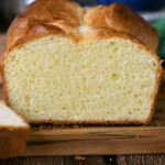 a pinterest image with text overlay for sourdough brioche