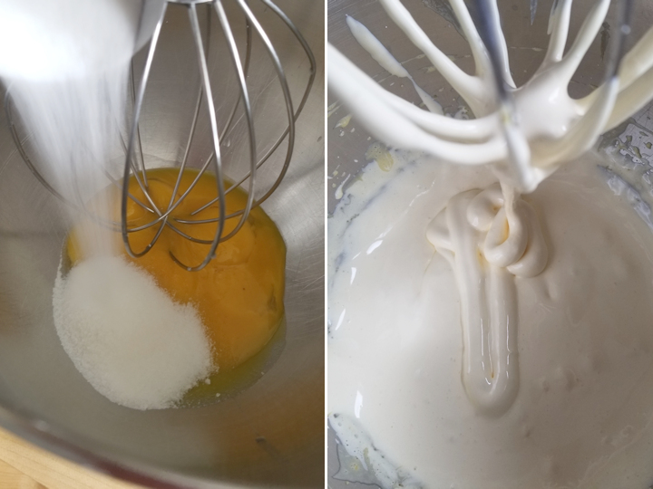 two photos showing how to whip egg yolks to make french buttercream