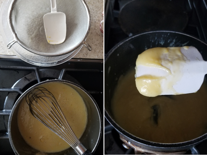 two photos showing how to cook custard for german meringue buttercream