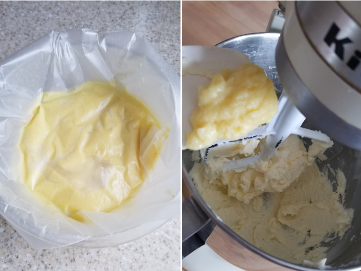 one photo showing how to store cooked custard and another photo showing how to add custard to buttercream