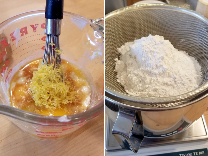 a measuring cup filled with eggs, yogurt and lemon zest and a sifter over a mixing bowl filled with flour